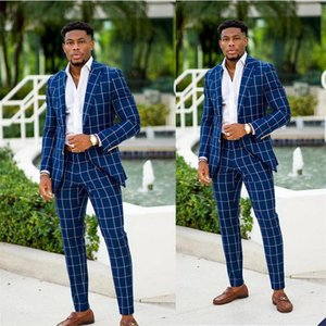 Customise 2 Pcs Mens Wedding Tuxedos Damier Check Gentle Groom Wear Slim Fit Groomsmen Jacket Pants Best Man Blazer