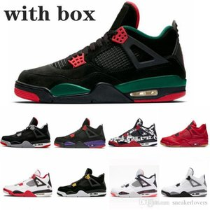 Day Designer Singles Tattoo 4 4s Mens women Raptors Basketball Shoes White Cement grey Black Red bred 4 Pale Citron Sneakers Sports Shoes