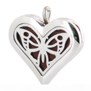 Heart Big Butterfly 36mm Aromatherapy Essential Oil surgical Stainless Steel Perfume Diffuser Locket Necklace with chain and 10pcs Felt pads