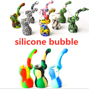 Silicone bubbler Portable Camouflage Silicone Water Pipes water bongs Detachable Hookahs Unbreakable Smoking Oil dab rig