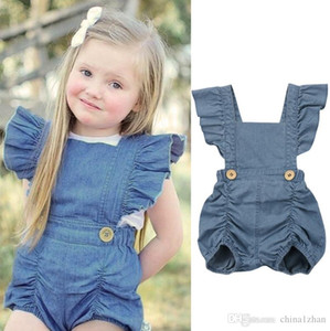 Baby Girl Rompers Ins Girls Denim Jumpsuits Backless Infant Climbing Clothes Sleeve Infant Outfits Summer Baby Clothing
