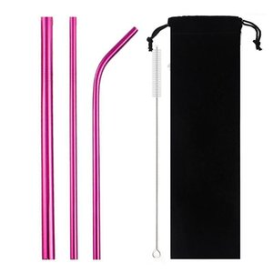 Питьевые соломинки 5-шт. Металлические многоразовые соломенные красочные розовый экологически чистый набор 304 нержавеющая сталь с кистью сумка1