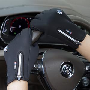 Warm im Winter Fahrradhandschuh wasserdicht winddicht Anti-Rutsch-Außen Thermal Handschuhe plus Samt Männer Frauen Zipper Screen-Handschuhe KKA1710