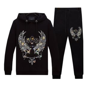 Winter Warm Plush Velvet Tracksuits Set for Men Sweatshirt and Pants - Fashion Hot Rhinestone Thicken Hoodies Tops Sets Unisex