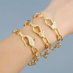 Flola Cz Gold Filled Бесконечность для женщин кабель соединения цепи Браслеты Подвески Цирконий ювелирные изделия ручной работы Подарочные Brtc41