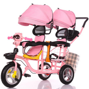 2020 New Children's Double Tricycle Stroller Baby Stroller Twin Baby Carriage Pushchair Cart Pneumatic Wheel1-6Y