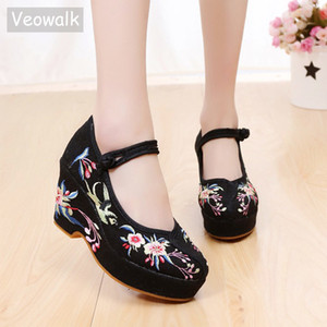Veowalk Flowers Embroidered Women Cotton Fabric Chunky High Heels Ankle Strap Ladies Casual Comfort Canvas Embroidery Pump Shoes 1007