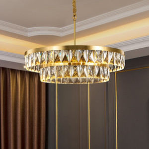 Modern Crystal Chandelier Copper Lamp Body Gold Light Luxury Living room Dining room Round Bedroom Multi-layer New LED Lamp