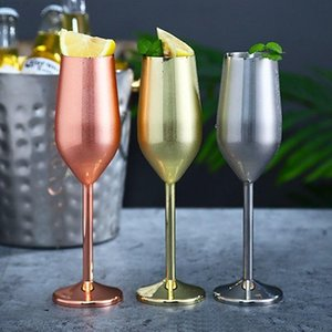 Stainless Steel Goblet Champagne 220ml 7oz 500ml 16oz Silver Gold Rose Gold Wine Glasses IIA506