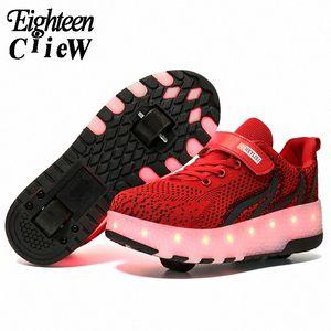 Размер 28 40 Дети Роликовые кроссовки с лампочками USB Заряженные LED обувь Двойные колеса Дети Мальчики Luminous Roller Skate Shoes Дети R XcFm #