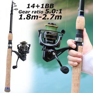 SougayILang 1.8- 2.7M CORK обрабатывает рыболовное удочку 14 + 1BB спиннинг катушки комбо портативный спиннинг ловля и набор катушек