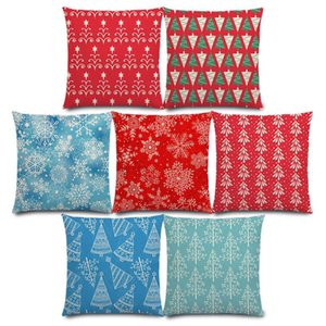 New Merry Christmas Day Lovely Fir Trees Gifts Snowflake Stars Ornaments Cute Floral Pattern Cushion Cover Sofa Pillow Case