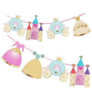 Princess Castle paper flag Colorful Paper Pennant Flag Banner Garland Wedding Baby Birthday Christmas Party Decoration