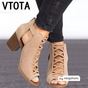 Vtota Summer 2019 New Block High Heels Sandals Shoes Women Peep Toe Sandalia Feminina K79 Y190704