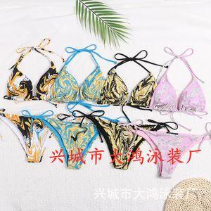Buchstabe Dreiecksack Squeeze Seil Bikini Multi Color Printing Split Swimsuit