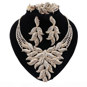 Fashion Jewelry Sets African Beads Jewelry Set Dubai For Bridal Gold Color Wedding Bridal Necklace Earrings Jewelry Sets