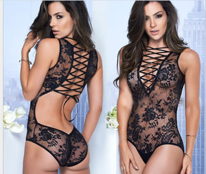 Sexy women's full lace see-through one-piece sexy underwear tie with see-through onesie pajamas