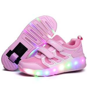 Kids LED tennis shoes for baby boy girl children glowing luminous light up sneakers with on wheels kids roller skate pink shoes