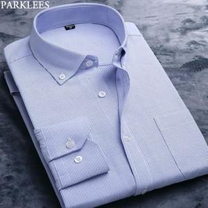 Cielo azul clásico de rayas camisa de los hombres de Oxford 2020 botón Nuevo vestido del ajuste delgado camisas larga para hombre de negocios camisa ocasional masculino