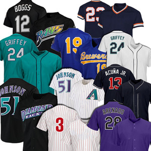 51 Randy Johnson 28 Nolan Arenado 24 Ken Griffey JR Jersey 12 Wade Boggs 19 Robin Yount 13 Ronald Acuna Jr. Jerseys de baseball