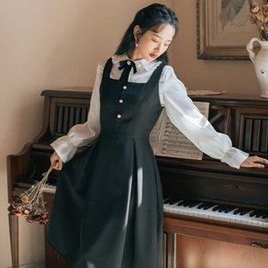 bsOZi 2019 outono e inverno camisa estilo coreano moda terno das mulheres longas Suspender saia suspender skirtsling estilingue New vestido de manga cinta s