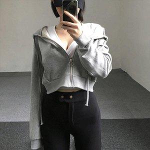 Zip up autumn women hoodies pockets slim crop jacket female clothes drawstring sexy hoody cotton coats Drop Shipping