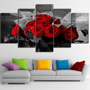 Canvas Living Room HD Printed Pictures Home Decor 5 Piece Pcs Beautiful Red Roses Painting Wall Art Modular Poster Frame Modern