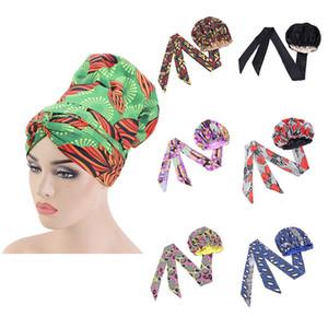 150 stücke Afrikaner Druck Satin Motorhaube mit langem Band Doppelschicht Headwrap Ankara Muster Frauen Haarbezug Große Größe Wrap Cap
