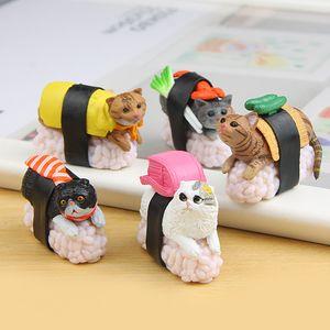 5 Pcs Sushi Cat Model Small Statue Figurine Micro Crafts Ornament Miniatures DIY Home Garden Decor