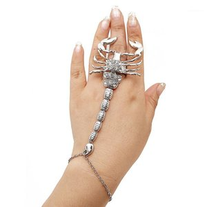 التحرير والسرد من goldtone العقرب قابل للتعديل فنجر r-ing و slave اليد سلسلة سوار سلسلة اليد سلسلة الجمع سحر مجوهرات 1
