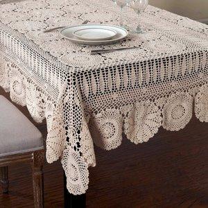 Handmade Crocheted Tabela Pano de algodão Toalhas de renda bege crochet toalha Muitos Tamanho disponível