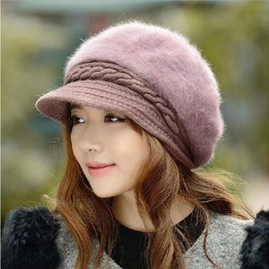 BINGYUANHAOXUAN nuevo de la manera boina de la piel ajustable del sombrero de invierno de las mujeres caliente casquillo plano sólido orejeras de punto de lana de la gorrita tejida