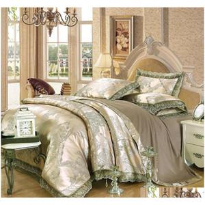 luxury jacquard bedding set king queen size 4pcs bed linen silk cotton duvet cover lace satin bed sheet set pillowcases europe home PgNTs