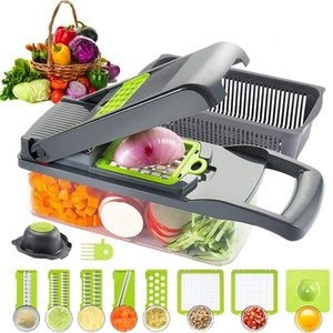 Food Vegetable-Fruit-Cheese-Onion Slicer Dicer Tomato Cutter Grater 12 in 1 Veggie Chopper Spiralizer Salad Pota
