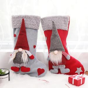 Los titulares de Navidad Medias con colgar 3D sueca Gnome árbol de Navidad regalos de la muñeca colgante Chimenea Adornos Decoraciones de vacaciones DHA1010