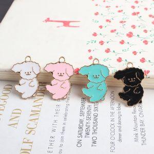 100 pçs / lote Muito fofo esmalte cães encantos pingente para DIY artesanato jewerly fazendo pulseira colar achados