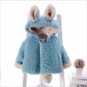 Children fleece coat winter new baby girls cute ear hooded Faux fur coat kids fleece thicken outwear children cartoon coat A5042