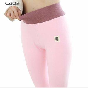 AOSHENG algodão 2020 Outono Inverno Mulheres Thicker Plus Size Slimming Engrosse calças quentes M-3XL cintura alta Leggings Q1107