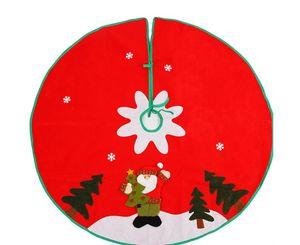 90cm costurado Santa Papai Noel Snowflake Skirt Pequeno Vermelho Vermelho Nov-Woven Saia de Árvore Ano Novo 2020 Decoração de Natal para casa