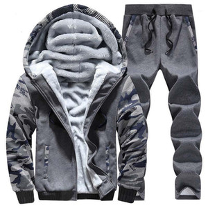 Oloey Winter Sport Anzug Warme Samt Casual Männer Sportwear Sets Verdickung Track Anzüge Hoodie Sweat Anzug Tracksuit Set Plus Size1