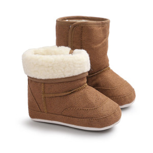 WONBO Nueva invierno muy cálido recién nacido de los bebés primeros caminante Zapatos infantiles del niño suave con suela de goma antideslizante Botas botines