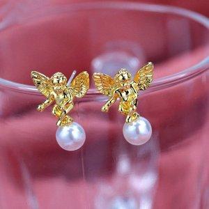 Flatfoosie sveglia di modo di angelo della vite prigioniera orecchini per le donne di colore Oro Argento perle imitazione Orecchini monili punk Amicizia Gifts Z8ty #
