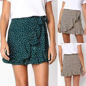 Summer Women Fashion Casual Printed Ruffle Skirts A-line Pleated Lace Up Bandage Short Skirt Faldas Mujer Moda 2021