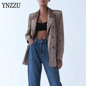 Vintage Velvet print Office ladies blazer Suit 2020 New Elegant Fashion Casual Long Sleeve Button Outwear Coats Tops YNZZU 9O236