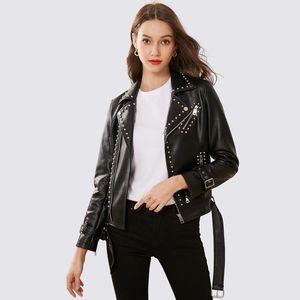 Winter PU-Jacke der neuen Ankunfts-2020 Marken-Qualität Motorrad-Leder-Jacken Rivet-Jacken-Mantel-Frauen nehmen Leder