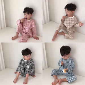 6M-3T Toddler Newborn Infant Baby Girls Boys Clothes Set spring Long Sleeve T-shirt + Pants 2pcs Outfits Plaid Baby Clothing Y200803