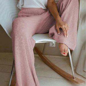 Jodimitty Kış Sonbahar Örme Geniş Bacak Pantolon Kadınlar Koreli Katı Pit Uzun Pantolon Elastik Dantel Yukarı Pantolon Artı boyutu Sweatpants