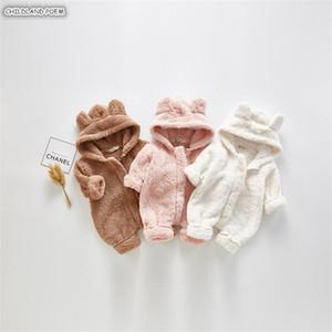 Giysi Yenidoğan Sonbahar Kış Polar Sıcak Kız Kapüşonlu Boy Romper Bebek Bebek Tulum Y1219