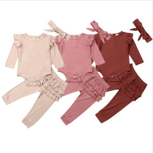 Baby Girl Outfits Solid Girls Ruffle Tops Skirt Pants Headband 3PCS Sets Designer Toddler Girl Clothes Set Boutique Baby Clothing