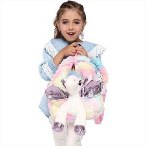 Cute Unicorn Backpack Girl Cartoon Plush Backpacks Children Toy Doll Zipper Schoolbags Student Mini Fur Book Bag For Kidergarten